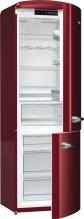 Gorenje ORK192R  Kombinovaná chladnička s mrazničkou dole, Retro, 227/95l, A++, bordová