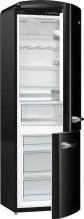Gorenje ORK192BK  Kombinovaná chladnička s mrazničkou dole, Retro, 227/95l, A++, černá
