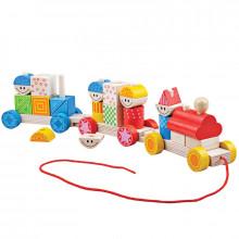 Hračka Bigjigs Toys Baby Dřevěný vláček s nasazováním