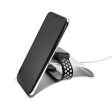 Stojánek FIXED Frame Watch na stůl pro mobilní telefony, tablety a hodinky Apple Watch, hliníkový st